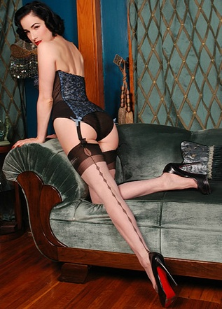 Von Teese models her namesake fully fashioned stockings for SecretsinLace.com.