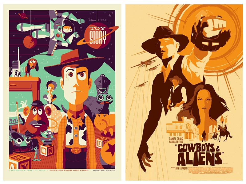 "Tom Whalen's poster designs for ""Toy Story"" and ""Cowboys & Aliens,"" two films that exemplify the clash of sci-fi and Western genres."