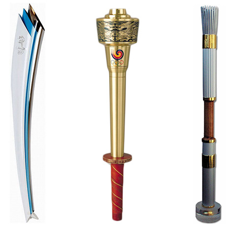 From left, the Olympic Summer Games torches for 2000 Sydney, 1988 Seoul, and 1996 Atlanta. Copyright International Olympic Committee.