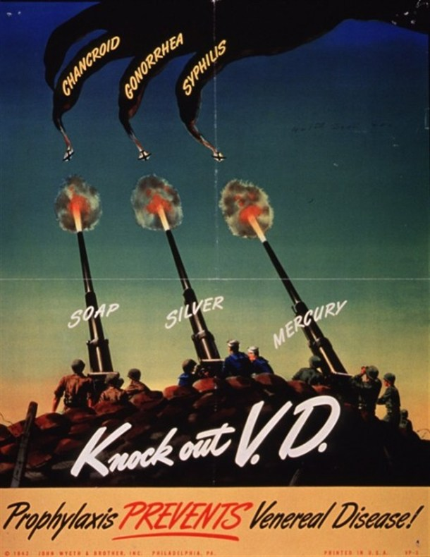 This U.S. military poster from World War II urged soldiers to use pro-kits after unprotected sex to stop the spread of VD.