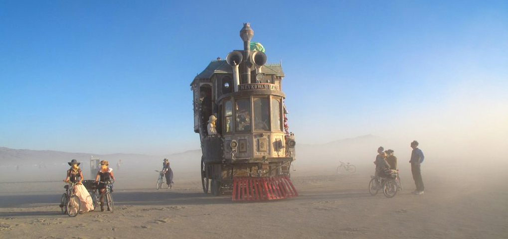 The Haul rolls through a typical dust storm on the playa.