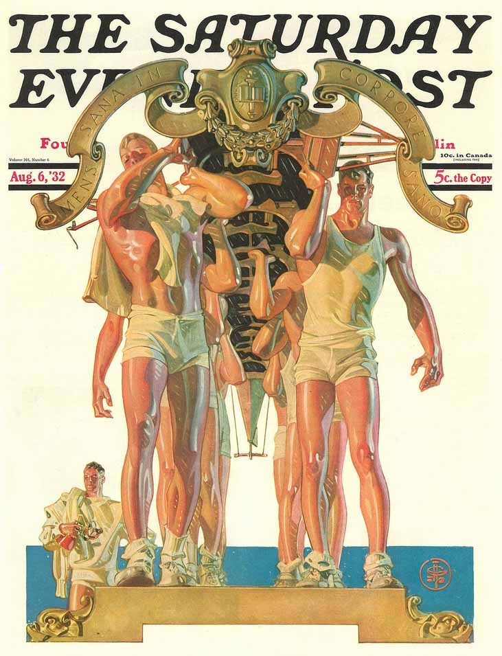 "This Leyendecker cover image for the ""Saturday Evening Post"" in 1932 puts the near-naked male on a literal pedestal."