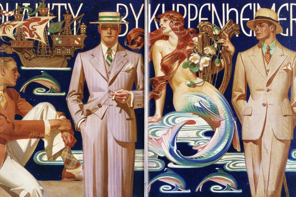 Some of Leyendecker's most monumental works were for the Kuppenheimer clothing company. The men in this image, all resembling Charles Beach, don't seem to be paying more attention to each other than the glorious mermaid.