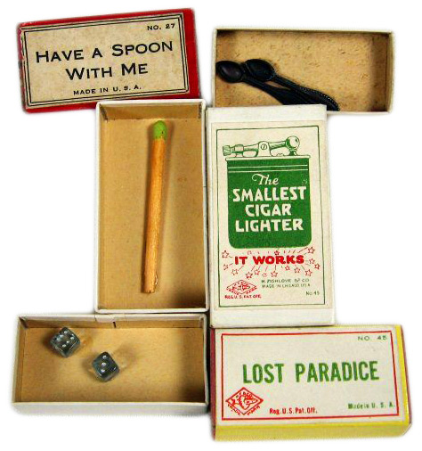 Early Fishlove gag boxes, first produced in the 1920s, were the size of small matchboxes and conceptually simple.
