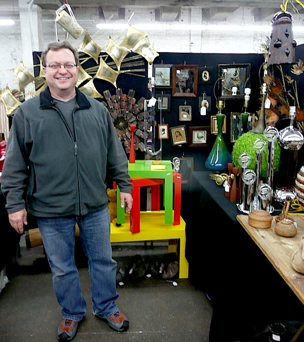 "Brett Cabral, pictured at the The Antiques Garage in New York City, is the dealer known as ""Tucker Small"" in ""Killer Stuff and Tons of Money."" Photo by Maureen Stanton."