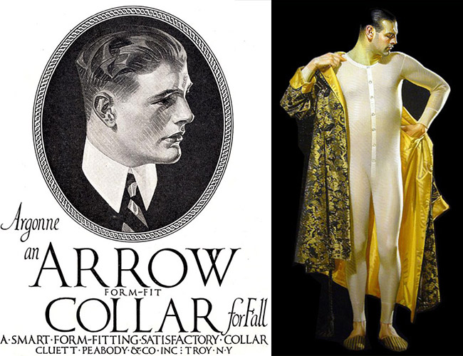 Left, an early Arrow Collar advertisement and right, a 1915 painting for Cooper Union Suits, both modeled by Charles Beach.