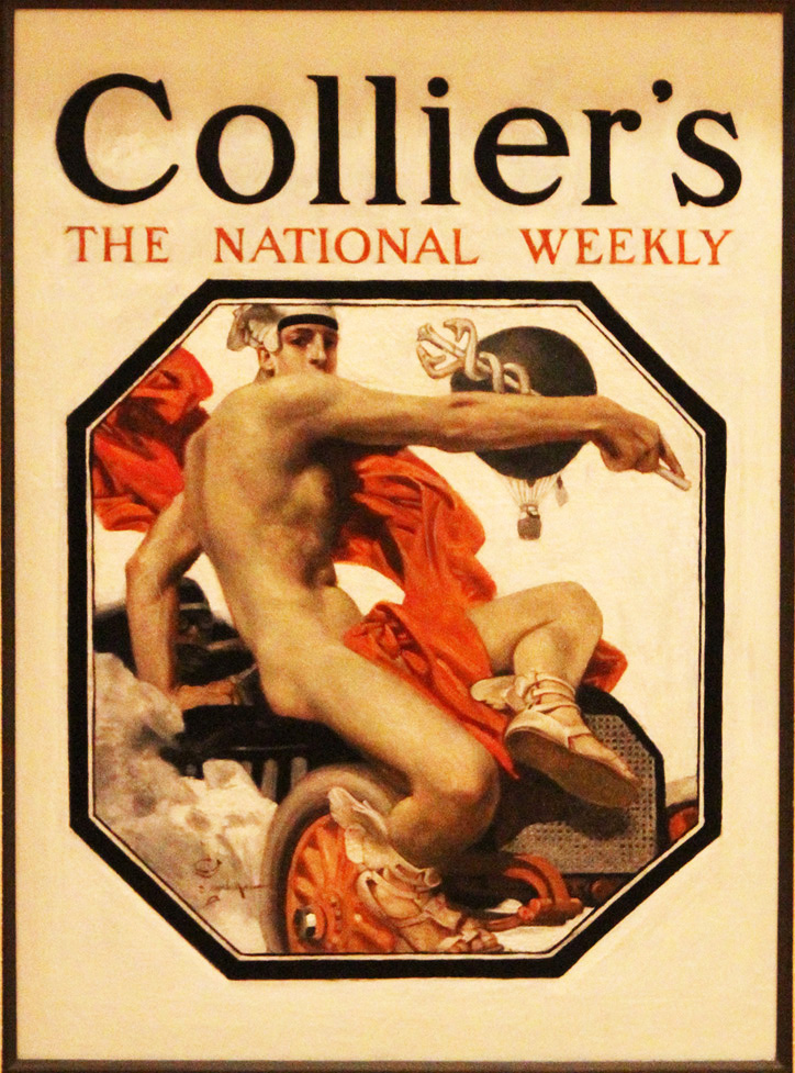 Leyendecker's painting of Mercury, the god of speed, for Collier's in 1907 draws from classical sculpture.