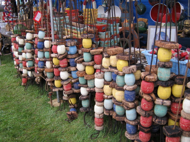 Fishing floats for sale at the May Brimfield. Photo by Ben Marks.