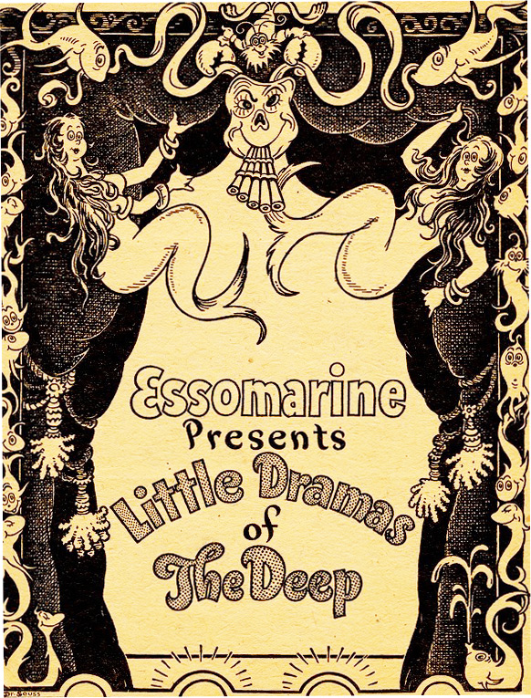 "To promote Essomarine motor oil at the 1938 National Motor Boat Show, Dr. Seuss wrote a six-act mermaid-filled play called ""Little Dramas of the Deep"" and designed the scenery. From the UCSD Mandeville Special Collections Library."