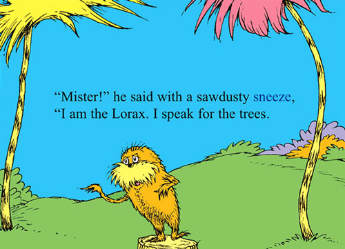 "A page from Dr. Seuss's 1971 tree-hugging children's book, ""The Lorax."""