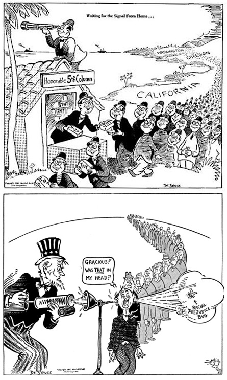 "In the top cartoon, from February 1942, Japanese Americans line up to pick up dynamite, ""waiting for the signal from home."" The cartoon above, from June of the same year, is titled, ""What This Country Needs Is a Good Mental Insecticide"" and shows Uncle Sam removing the ""racial prejudice bug."" From the UCSD Mandeville Special Collections Library."