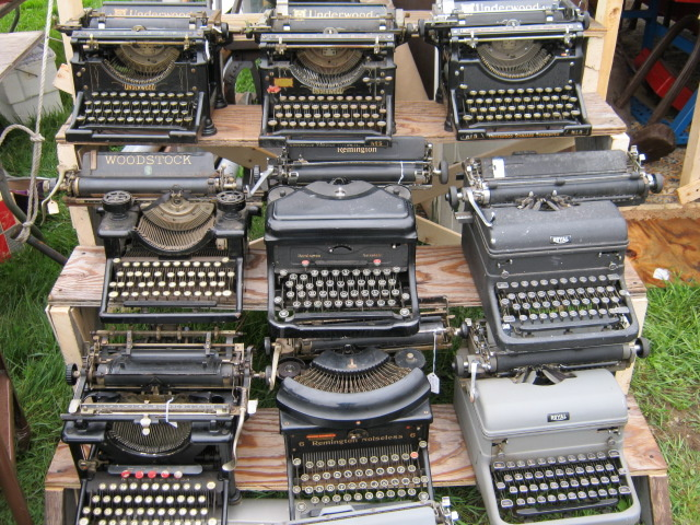 Antique typewriters at the May Brimfield. Photo by Ben Marks.