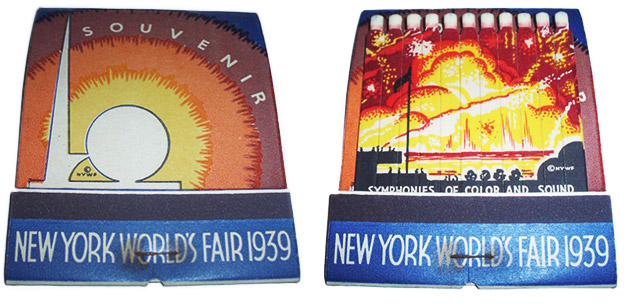This 1939 New York World's Fair souvenir contains printed matches, not the wide feature matches. Like the military cleaning matchbook at top, it comes from the collection of Frank Kelsey, a.k.a. ussiwojima on Flickr.