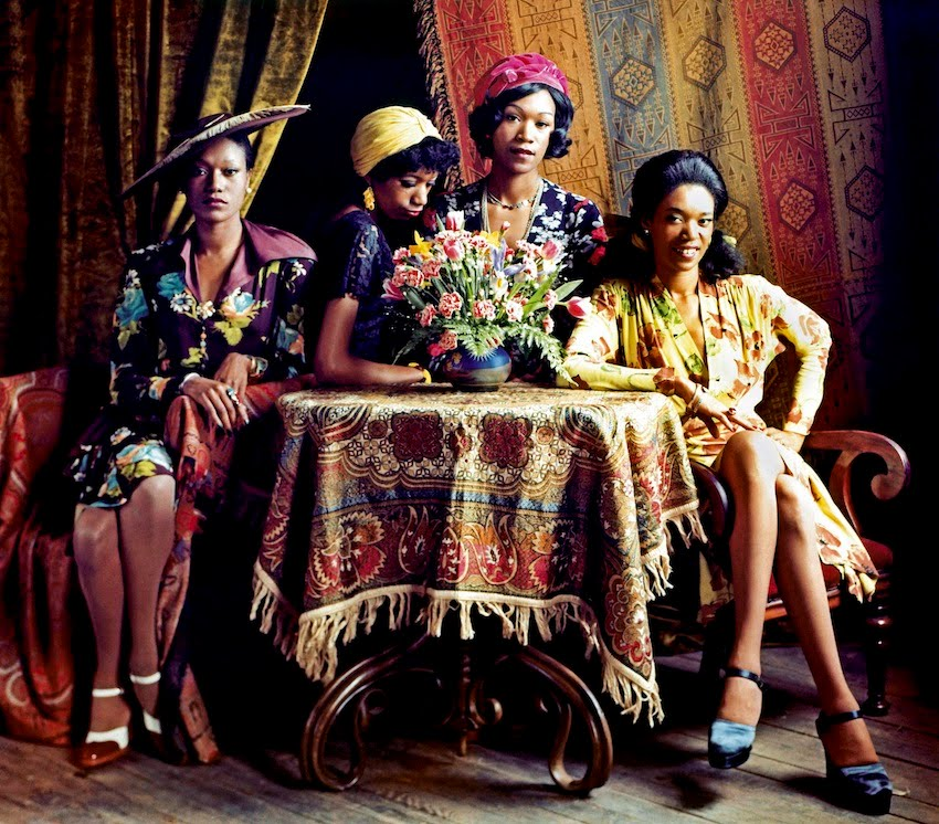 The Pointer Sisters, who loved wearing retro clothing, pose for the cover of their 1973 debut album with a variety of ethnic prints and patterns. Photo courtesy RB/ Redferns.