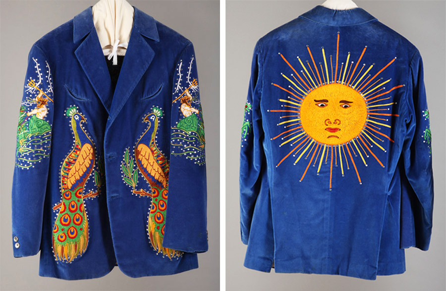 The front and back of a peacock suit jacket designed for Chris Hillman of the Flying Burrito Brothers.