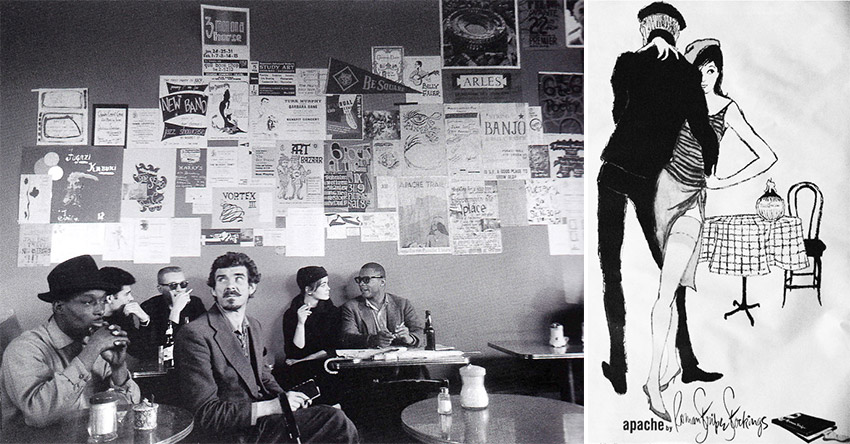 "Left, real world Beats, as seen at the Co-Existence Bagel shop in San Francisco in the 1950s (photo from ""The Beats"" by Mike Evans). Right, hip style helped to sell Apache stockings."