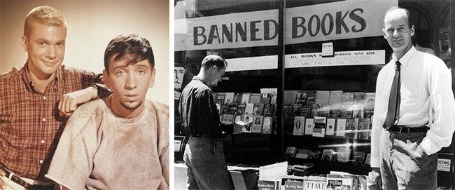 Left, Dobie Gillis (in a crew-cut and all-American plaid) and Maynard G. Krebs (in a goatee and dirty sweatshirt) came to represent the dichotomy of '50s America. Right, Lawrence Ferlinghetti's City Lights Books featured publications other stores were afraid to sell.