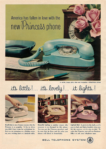 In the 1960s, Bell Telephone Systems marketed its Princess phone as a pretty, pastel addition to a bedroom, where a girl could gab with pals for hours. Click image to read the text.