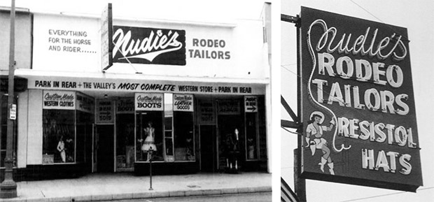 Left, an early incarnation of the store on Lankershim Boulevard and right, one of the shop's signature neon signs.