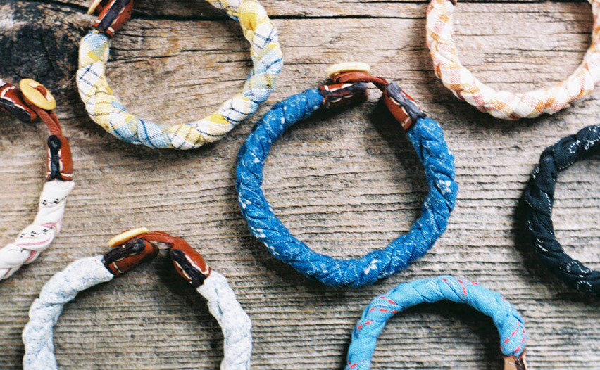 Barrett Alley's bracelets for the Levi's Made Here project are constructed from 100-year-old American deadstock fabric. Via barrettalley.com.