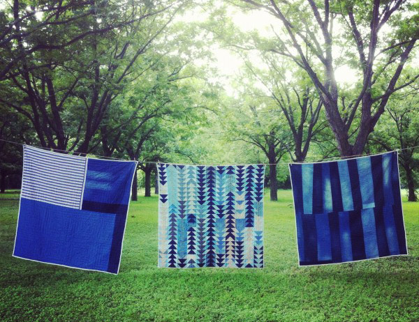 Quilts by Folk Fibers of Austin, Texas, use scraps of recycled denim, some of which are donated by Levi's. Via folkfibers.com.