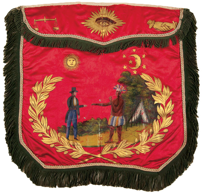 Top: Three Royal Arch Masons in their regalia in a York Rite cabinet card. Above: At meetings, Masons wear aprons designating their degrees. This silk apron is hand-painted with scene of an Native American offering his peace pipe to a white man.
