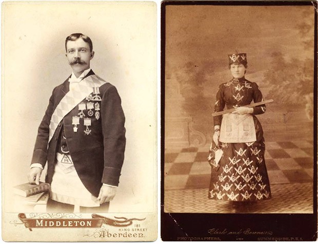 At left, a York Rite Mason poses for a cabinet card. At right, a woman, probably a member of the Eastern Star, is dressed head to toe in Masonic gear. Via Phoenixmasonry.org.