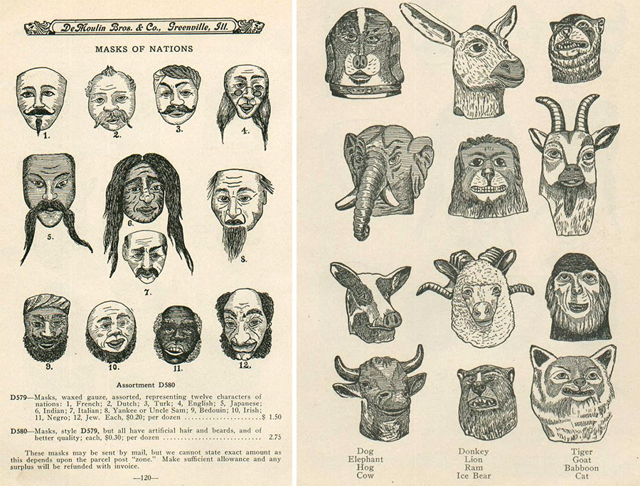 The DeMoulin Bros. & Co. made masks, pranks, and other novelties designed specifically for fraternal orders. Via Dim Tool Dull Bulb.