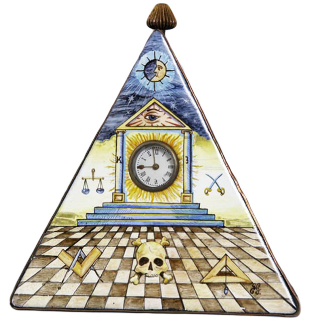This hand-painted enameled clock, done in the Limoges style, depicts the symbolism of early Blue Lodge Masonry. Via Phoenixmasonry.org.