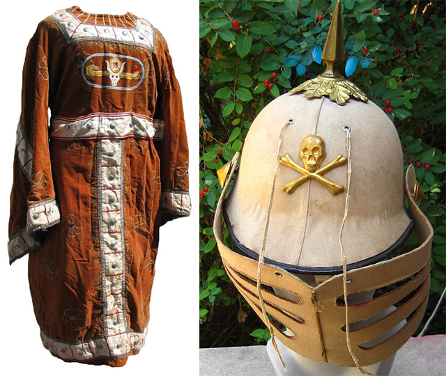 "Left, a ceremonial robe embroidered with the number ""30,"" possibly for the 30th degree of the Scottish Rite. Right, an example of an Odd Fellows helmet used in their rituals."