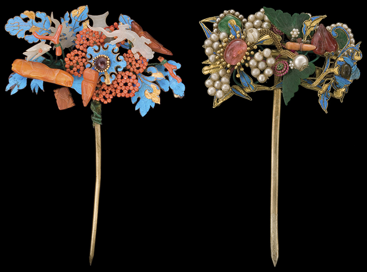Decorative hairpins worn by the wealthiest Chinese women featured stones such as tourmaline and jadite, seed pearls and red coral, and iridescent kingfisher feathers. Animal motifs on these silver rings include birds, lions, and frogs. Courtesy the Shyn Collection.