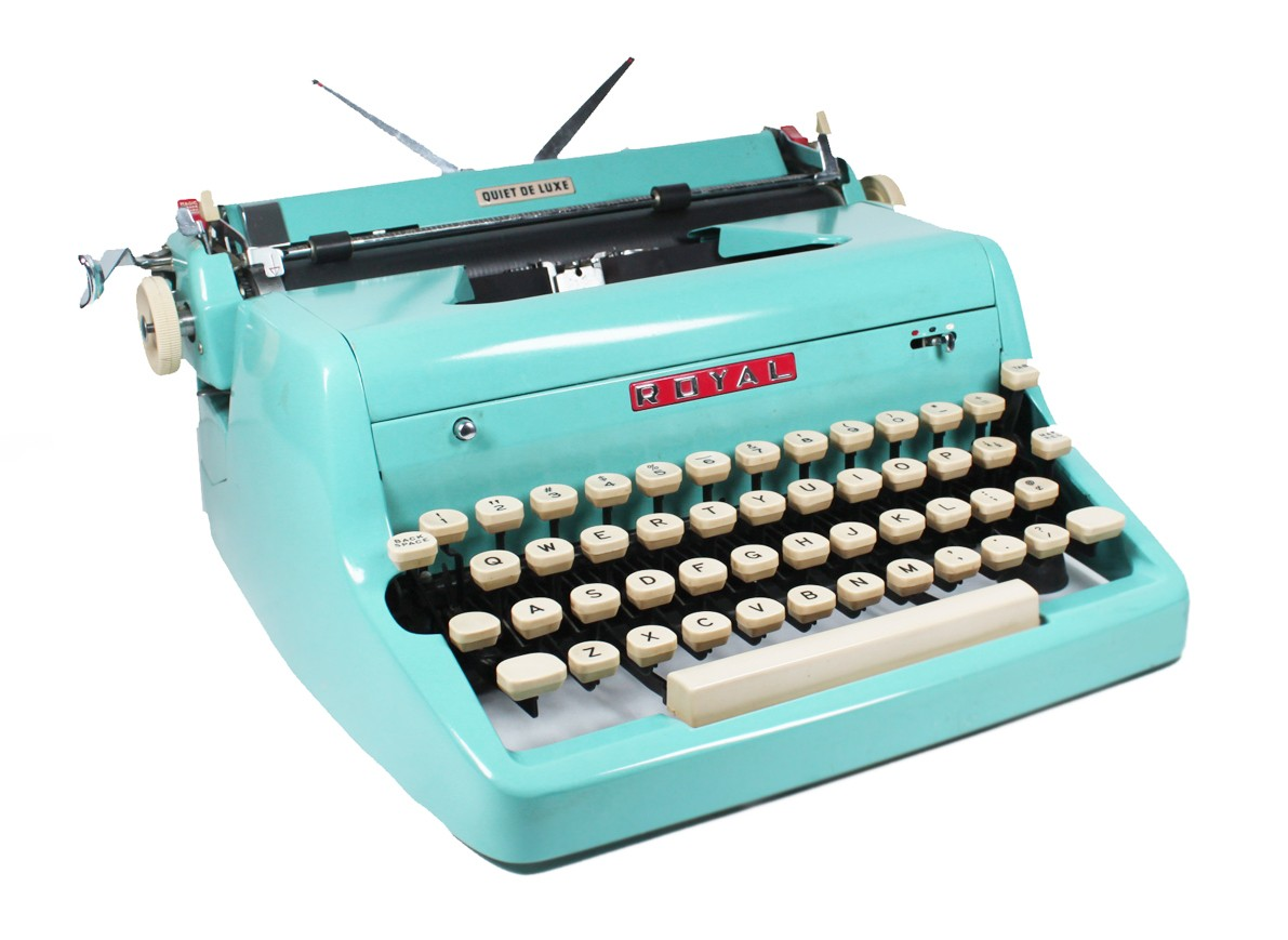 Tom Hanks posted a similar 1940s turquoise Royal Quiet De Luxe typewriter on his social media pages last year.