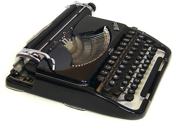 "This Groma Kolibri from 1950s East Germany is the sort of typewriter featured in ""The Lives of Others."" From Polt's collection, via The Classic Typewriter Page."
