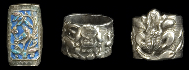 Animal motifs on these silver rings include birds, lions, and frogs. Courtesy the Shyn Collection.