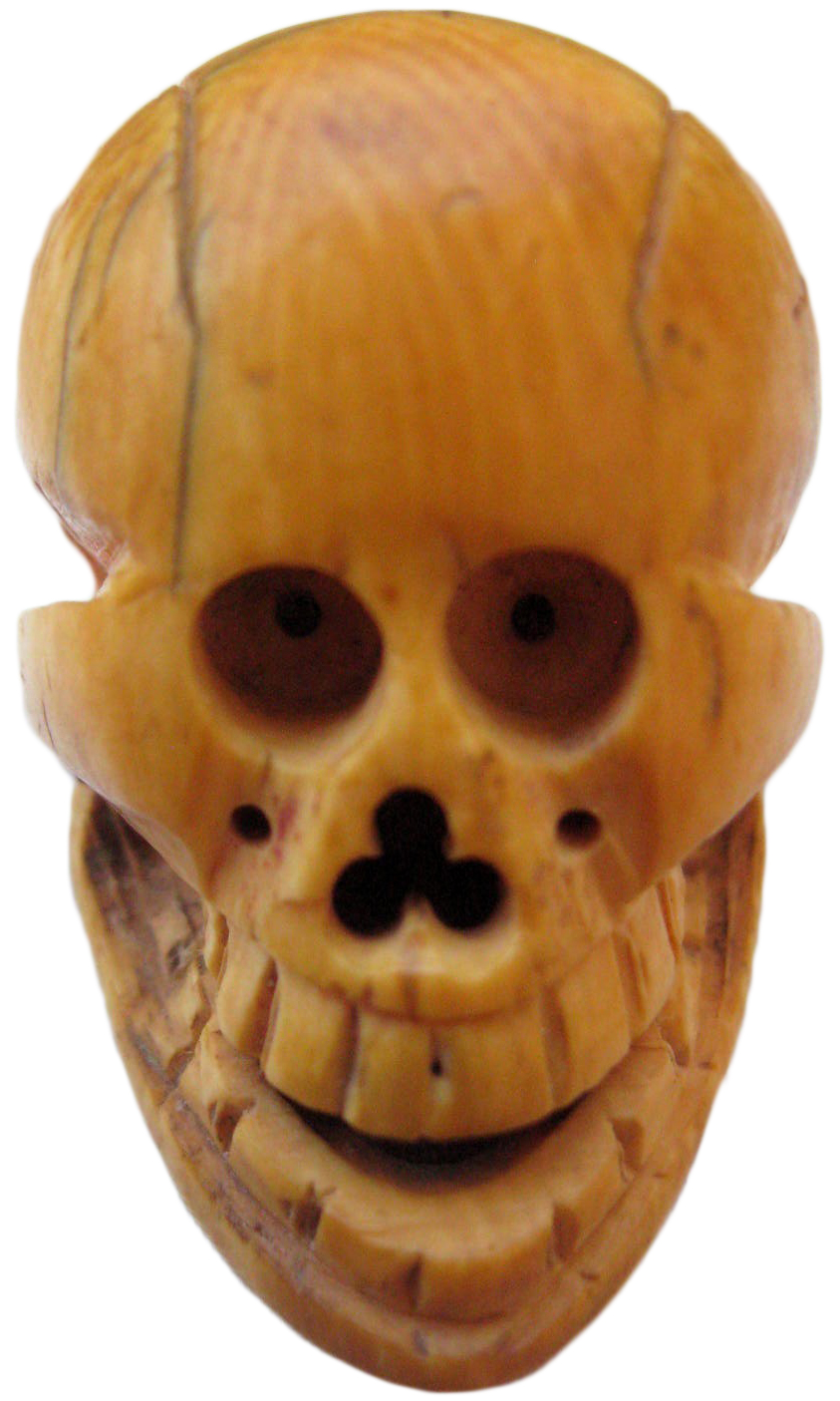 "The seller of this skull-shaped bone netsuke says, ""My mother is VERY sensitive to the spirit world and refused to have it in the house."""