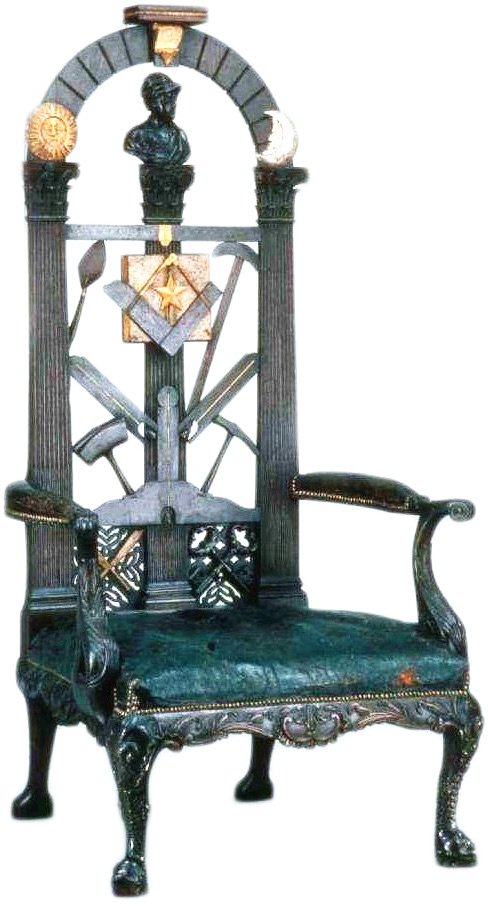 This hand-carved Worshipful Masters Chair dates to the 1700s. The Worshipful Master sits in the east end of the room while he governs. Via Phoenixmasonry.org.