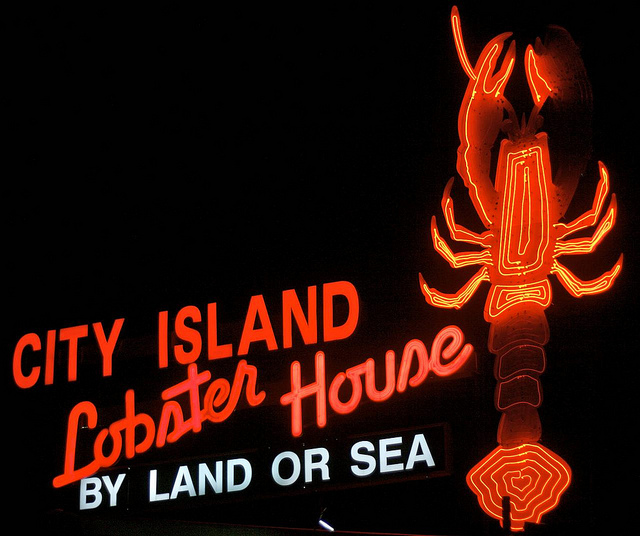 Hurricane Sandy took down this giant, iconic neon sign for City Island Lobster House in the Bronx. Photo by Hively.