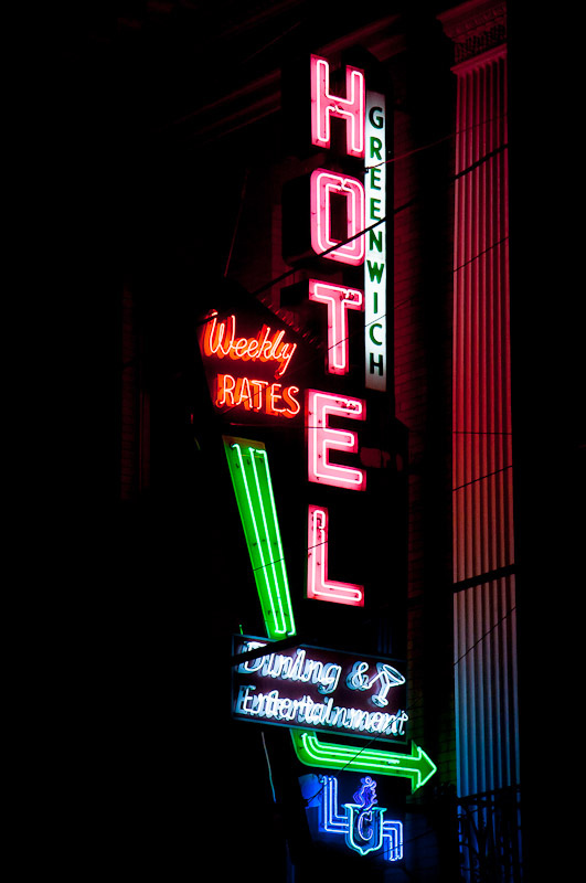 Hively still shoots neon she sees while traveling, like this this lovely hotel sign she discovered in East Greenwich, Rhode Island. Photo by Hively.