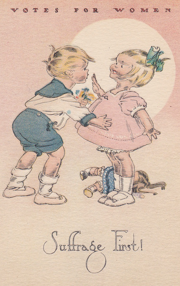 The National Woman Suffrage Publishing Co. circulated pro-suffrage cards designed by the Campbell Art Company, the same group of illustrators that produced the Campbell's Kids. Palczewski, Catherine H. Postcard Archive. University of Northern Iowa. Cedar Falls, IA.