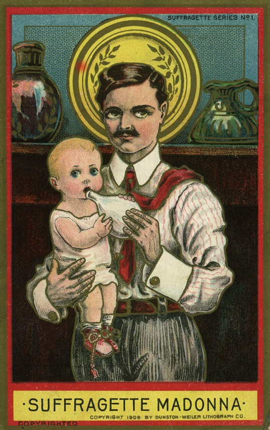 "The ""Suffragette Madonna"" was a popular theme in anti-suffrage postcards. Palczewski, Catherine H. Postcard Archive. University of Northern Iowa. Cedar Falls, IA."