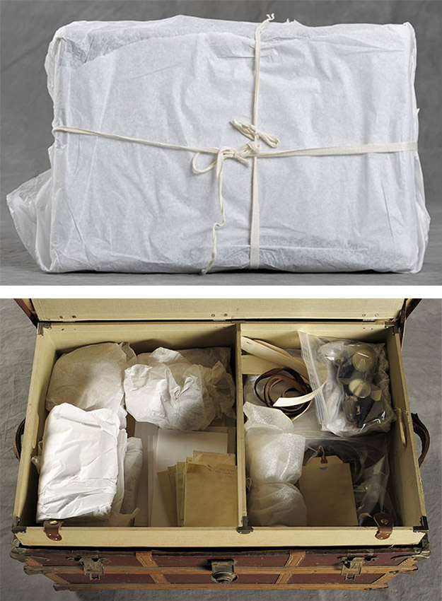 Crispin also documents the way each suitcase and its objects are wrapped and protected by the museum.