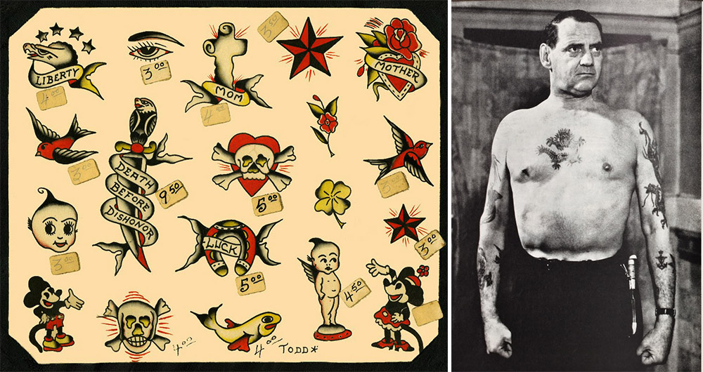Left, traditional American flash designs on 1960s flash. Right, King Frederik IX of Denmark shows off his tattooed torso.