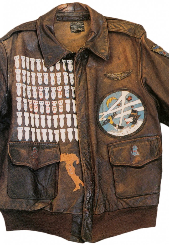 An A-2 jacket worn by an American air gunner in the 86th Bomb Squadron, 47th Bomb Group. The dog was the squadron mascot, and the outline of Italy indicates were he served. From the collection of Jeff Spielberg.
