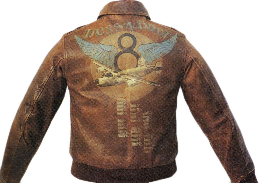 """Doc's Boy"" G.H. Armstrong flew 30 missions on a B-24 bomber called ""Puss-n-Boots"" with the 577th Bomb Squadron. The winged 8th Air Force insignia was a popular motif for painted flight jackets. From the collection of Richard Peacher."