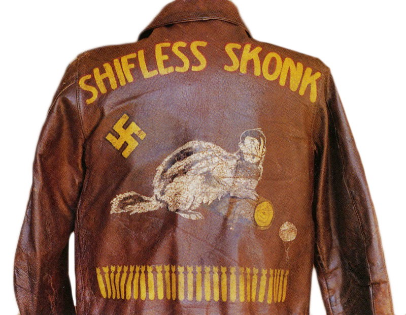 "The artwork on this jacket depicts Hitler as a ""Shifless Skonk."" The ""Schifless Skonk,"" misspelled on R.L. Parker's jacket, was the name of a B-17G bomber of the 568th Bomb Squadron. The swastika marks a German aircraft destroyed, while the parachuter indicates Parker had to jump. From Arthur Hayes' collection."