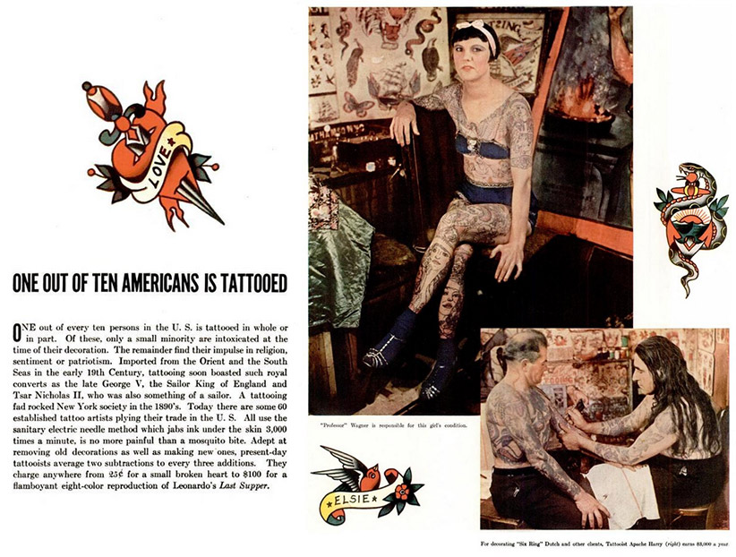 "A spread from the 1936 ""Life Magazine"" expose on tattoos in America."
