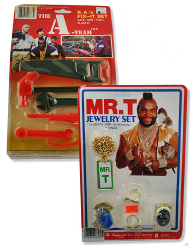 "Top: The Mighty Hercules Magic Ring was basically a plastic, glow-in-the-dark locket. Above: Some of the wackier rack toys include ""B.A.'s Fix It Set"" and ""Mr. T's Jewelry Set."" Images courtesy Brian Heiler."