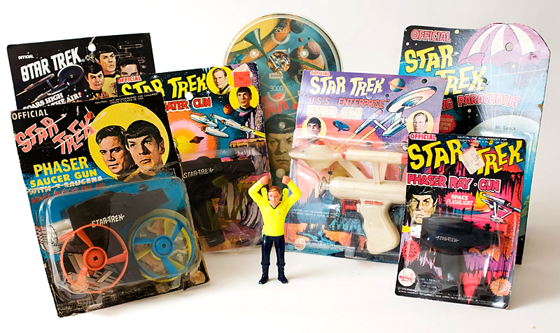 "A selection of AHI ""Star Trek"" rack toys. Image via startrek.com."