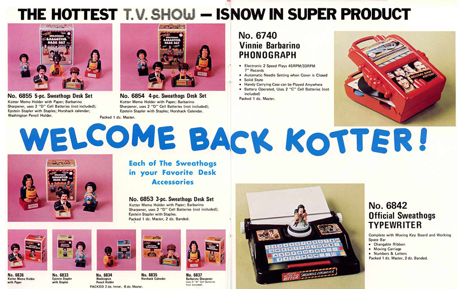 "A license with the ""Welcome Back Kotter"" TV series was used to promote this odd group of desk accessories, which included a working record player and typewriter."