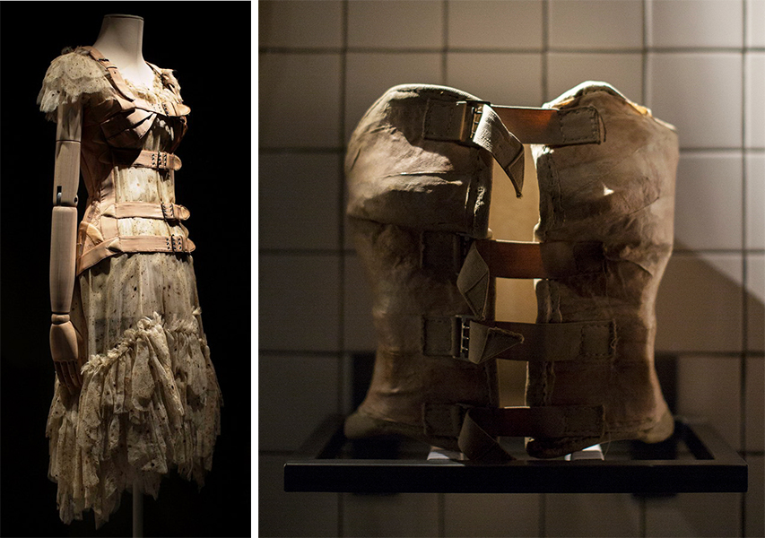 On the left, a Gaultier corset dress from 1994 that was inspired by Kahlo's plaster supports, like the one shown on the right. Photos by Miguel Tovar.
